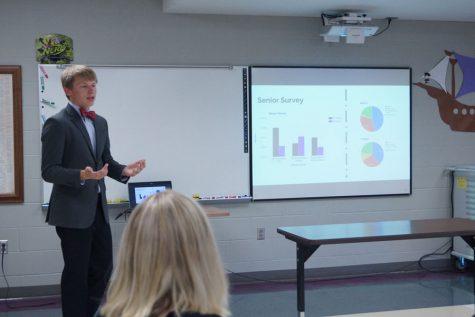 Senior, Jacob Talkin, presents his Senior Project on the Senior Project.