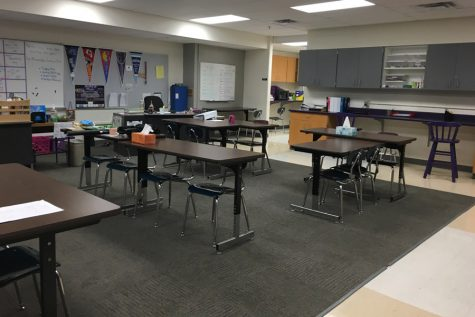 The room where Life Skills students will be permanently moving to next year has space and materials for the frequent crafts that students engage in.