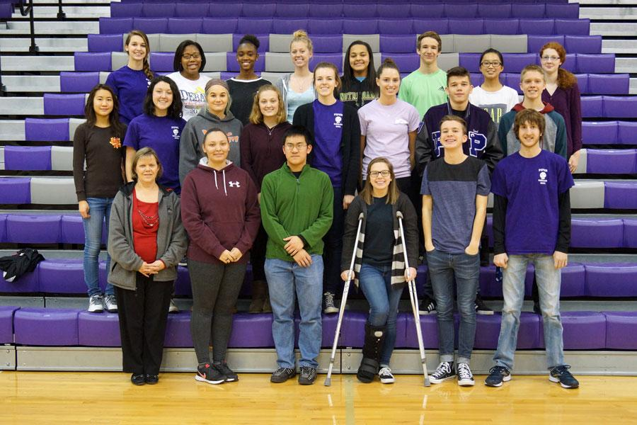 The 2015-16 Scholars Bowl team poses for a yearbook group photo. Students involved in Scholars Bowl often are active in other school activities.