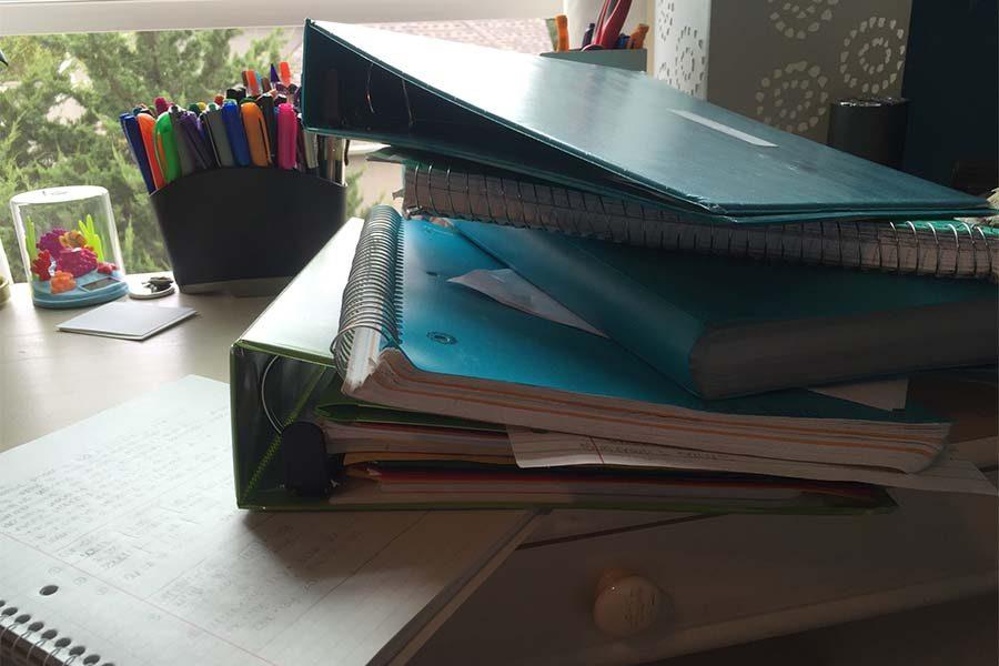 Students take home piles of homework each night
