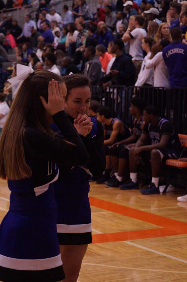 Freshman cheerleader Ally Neal anxiously anticipate the ending of the game as Bonner is ahead by only two points.