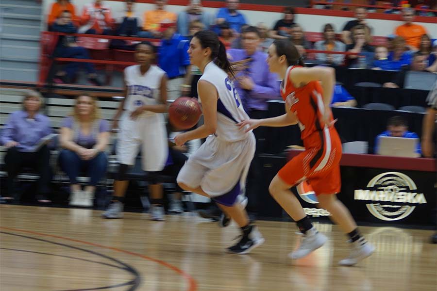 Freshman Ali Vigil was the leading scorer in the state tournament opener for the Lady Pirates.