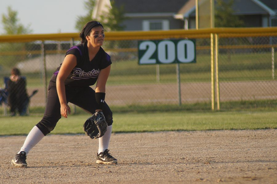 Senior Sirena Salazar anticipates the ball at regionals last year. The team ended the season placing second at state.