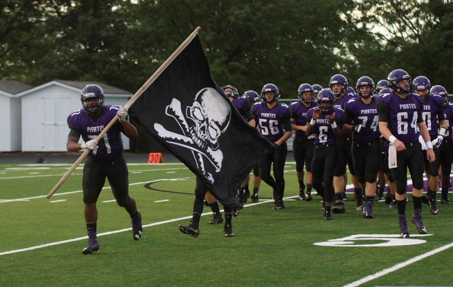 Seniors Micaiah Noel, J.J. Letcher and Dirk Beashore led the Pirates out before the homecoming matchup against Bonner Springs. The Pirates won 33-20.  With 27 victories and 4 playoff appearences, the class of 2017 has the fourth most wins in school history.