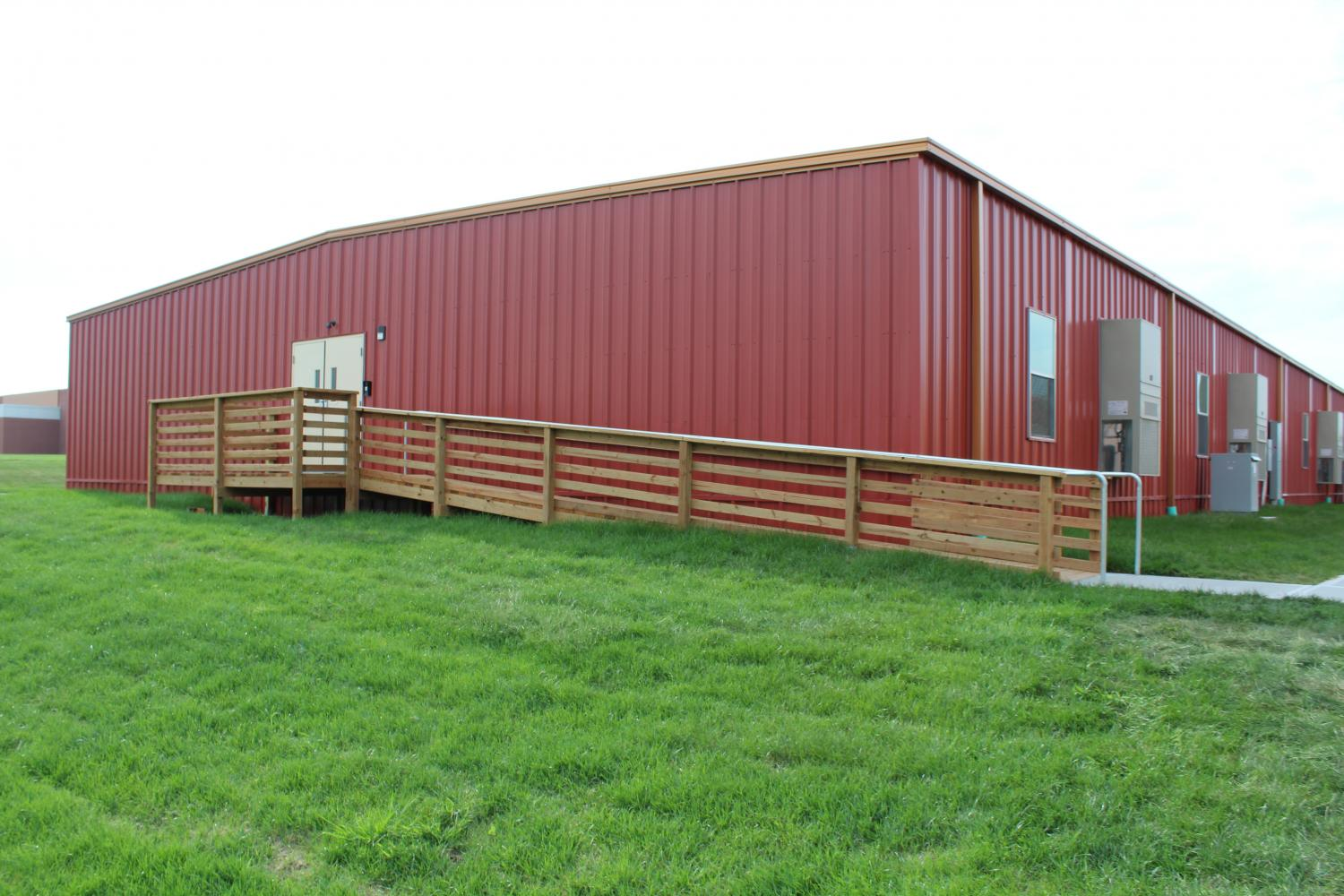 Modular classrooms added to the middle school to accommodate to the growth. Eighth graders attend core classes in these classrooms.
