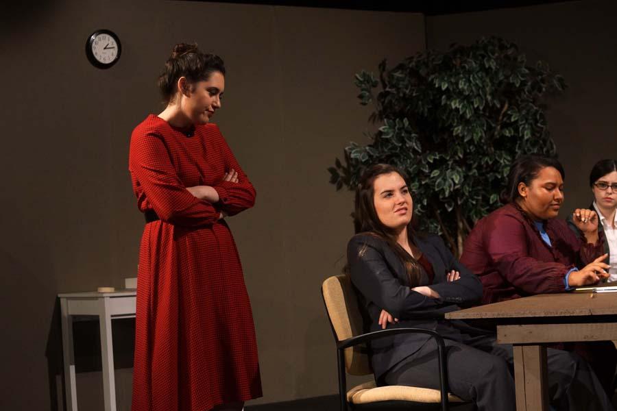 Senior, Skylar Penyweit, questions junior, Kara Evans, after she changes her answer.