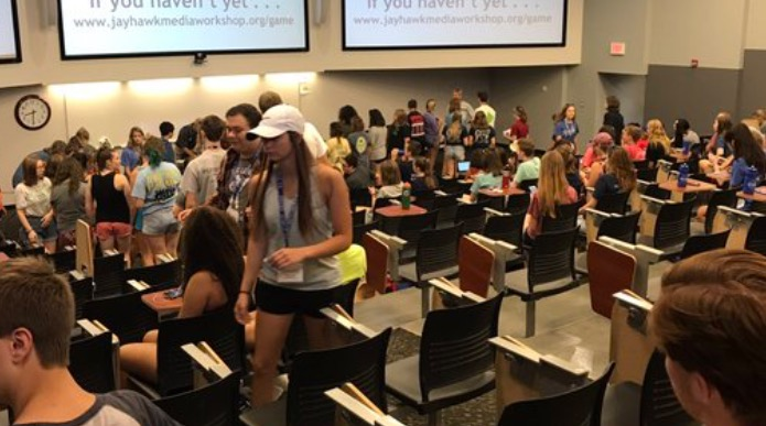 Students get comfortable for the opening session of KU's Jayhawk Media Workshop.