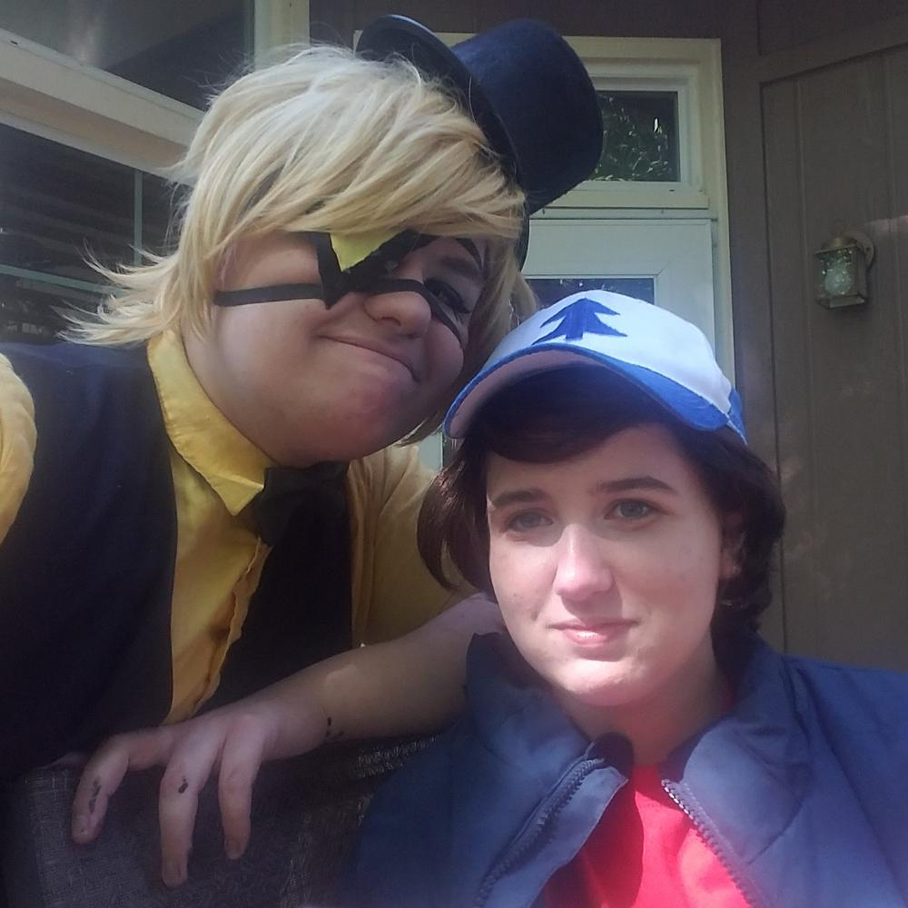 Parker and a friend dress up in cosplay for the American television series Gravity Falls.