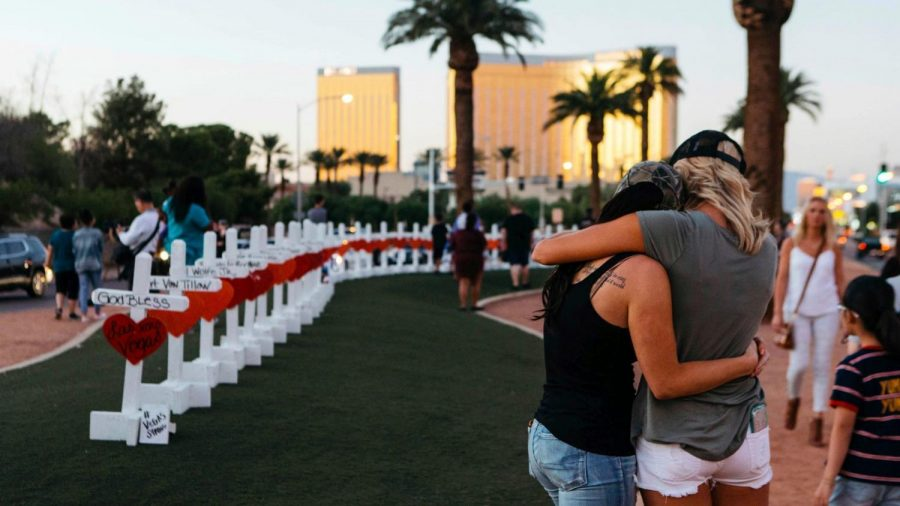 A+memorial+was+erected+for+the+Las+Vegas+shooting.+