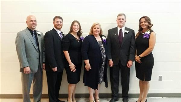 The Board of Education as of last year with President Jeb Vader, Vice President Ashley Biondi, Lisa Sullivan, Neal Palmer, incumbent Desiree Fergus and Darrell Yoder.