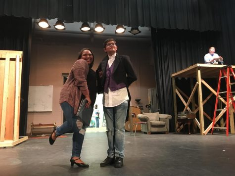 Cast and crew work behind the scenes of the Drowsy Chaperone