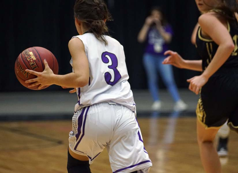 Freshman Evelyn Vasquez dribbles the ball down the court during the first half of the game March 7.