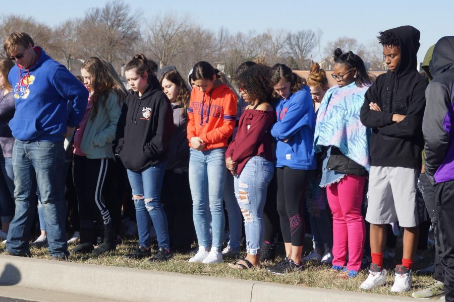 Students participate in the walkout March 17.
