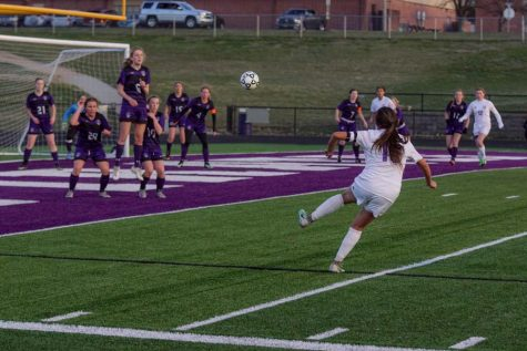 Senior Gabi Rodriguez receives a free kick outside the box. She took an upper 90 shot in the 60th minute.
