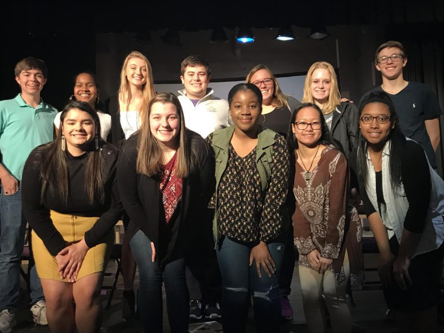 The key club board poses for a picture after the April meeting.