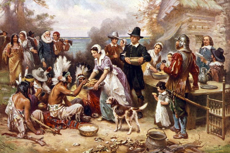 Depiction of the first Thanksgiving.