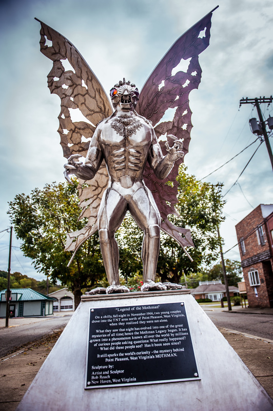 The Mothman Statue in Point Pleasant, West Virginia was erected in 2003 when Gunn Park was renamed Mothman Park.