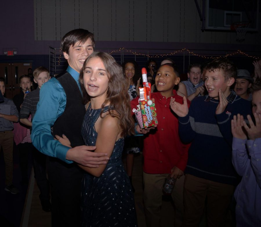 Eight graders Justine Fryatt and Quentin Enriquez won king and queen. They have been dating since sixth grade.