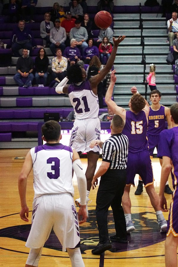 Senior Brandan Jackson goes up for the tip.