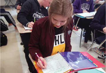Working on her notes, foreign exchange student Polina Rakusheva works toward perfection during Spanish. Students feel the pressure to have perfect notes, grades and homework to attain scholarships or based on pressure from parents.