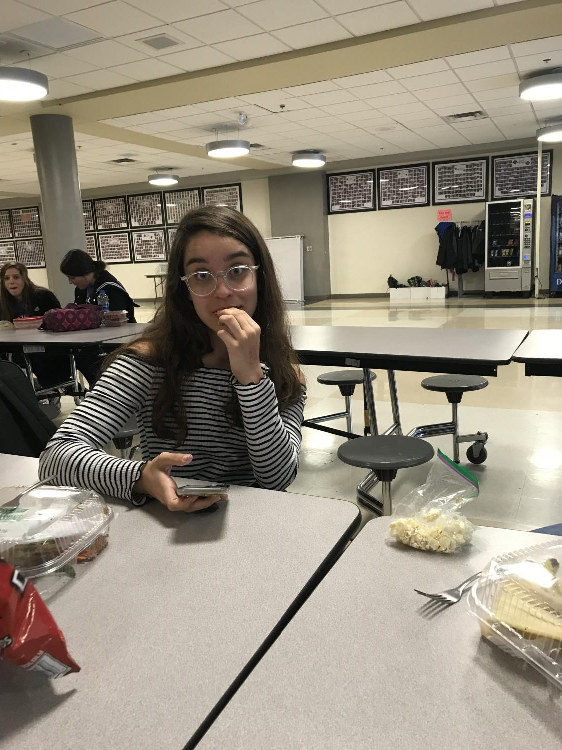 Freshman, Audrey Menzies enjoying her lunch on April 30.