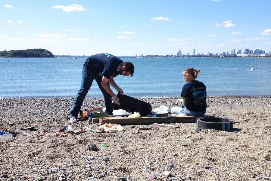 Volunteer workers do all they can to clean up what is left of the normal waters.