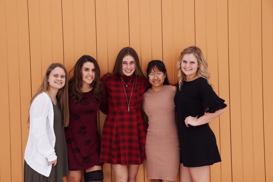 Courtwarming queen candidates: Emily Brandt, Lauren Pappert, Riley Porter, PaNhia Penney, and Emma Martin.