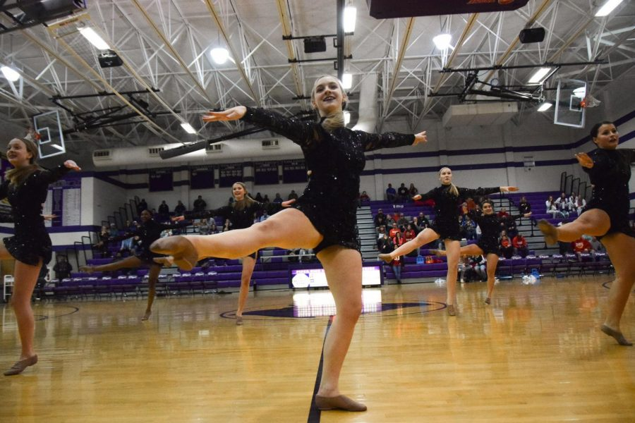 PHS dance team performes at halftime during a varsity basketball game