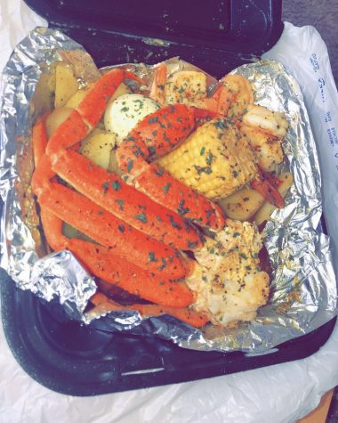 Sophomore TyJanae Hooks tested out the lemon pepper crab legs from Krab Kingz over quarantine.