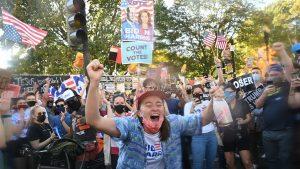 Celebrations erupt Saturday, Nov. 7, following the announcement of president-elect Joe Biden.