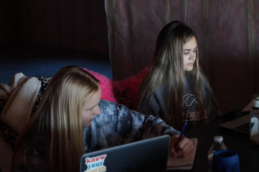 Sophomores Lilly Ladish and Lydia Vogel work together while remote learning.