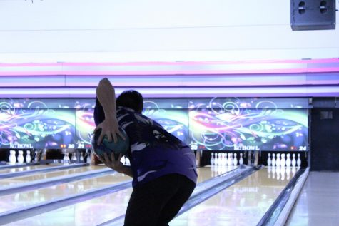 Senior Kyron Fergus bowls at KC Bowl in lane 24. Photo by senior Tony Cobbs.