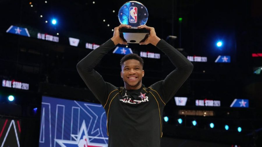 All-Star game MVP Giannis Antetokounmpo holds his Kobe Bryant Award which is given to the MVP of the game. Antetokounmpo went a perfect 16 for 16 from the field with 35 points.