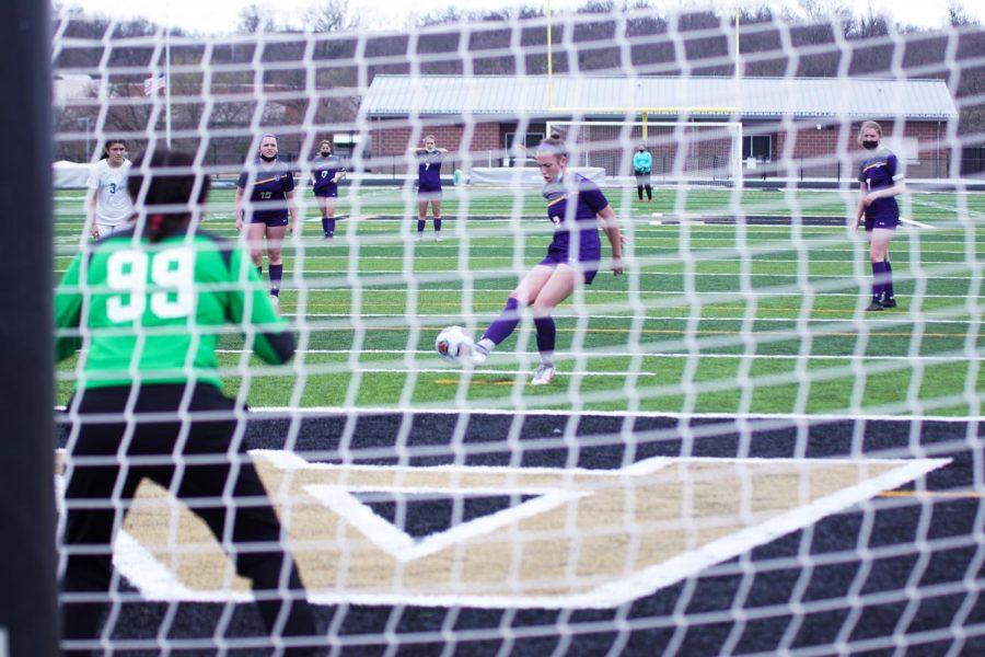 Sophomore Ryann Clark scores a goal off of penalty kick.