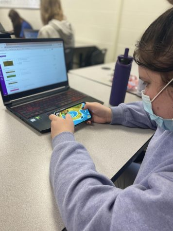 Junior Abigail Cahill plays Moshi Monsters Egg Hunt after completing school work.