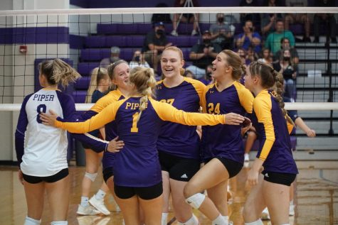 Lady Pirates come together after scoring against St. James. The Pirates lost in the first round of substate to the Thunder.