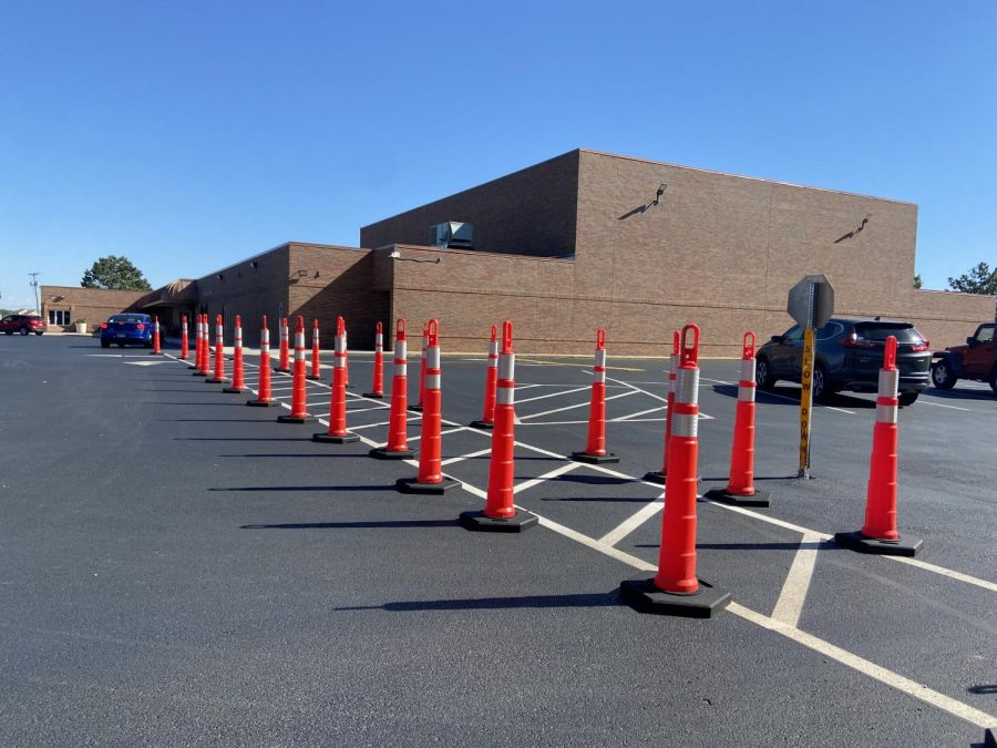 Piper Middle School uses cones to block incoming traffic. This is one of the new safety precautions implemented for pedestrian safety.